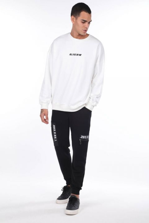 Men's Tupac Printed White Crew Neck Sweatshirt