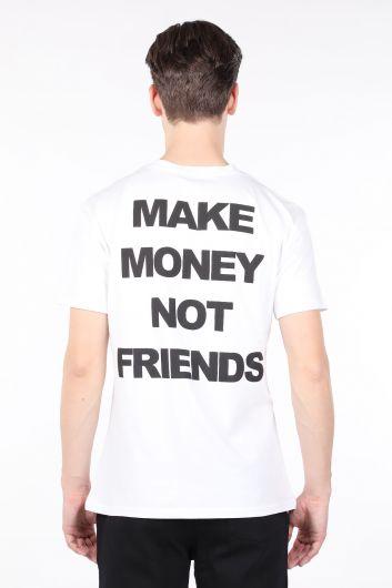 Мужская белая футболка с круглым вырезом и принтом на спине - Thumbnail