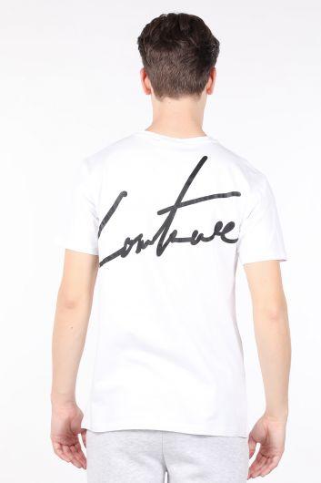 Men's White Printed Back Bicycle Collar T-shirt - Thumbnail