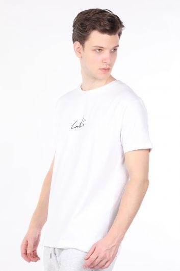 COUTURE - Мужская белая футболка с велосипедным воротником и принтом сзади (1)