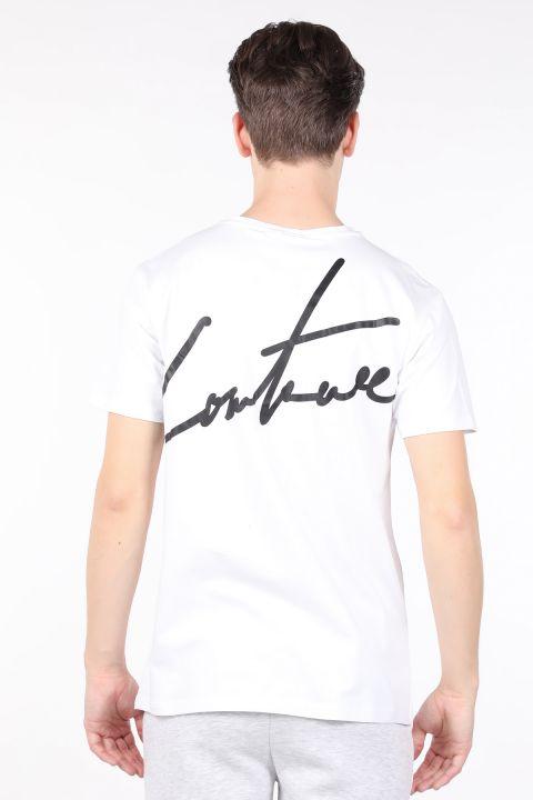 Мужская белая футболка с велосипедным воротником и принтом сзади