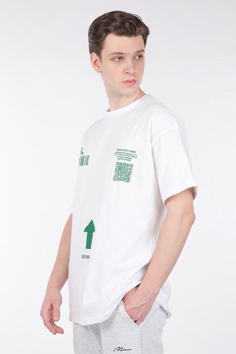Men's White Code Printed Crew Neck T-shirt