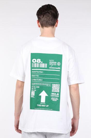 Men's White Code Printed Crew Neck T-shirt - Thumbnail