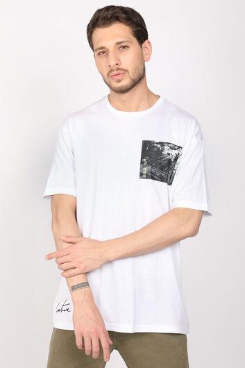 Men's White Crew Neck T-shirt - Thumbnail