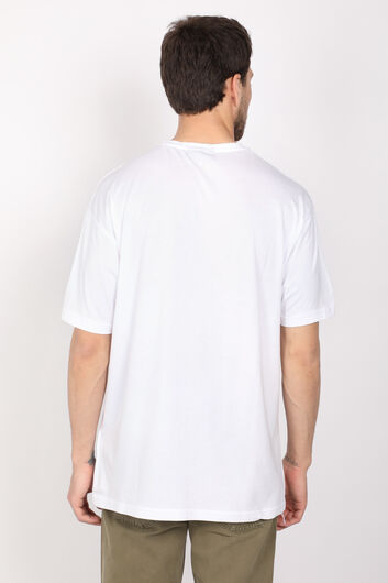 Мужская белая футболка с круглым вырезом - Thumbnail
