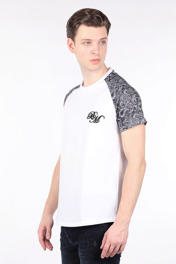 MARKAPIA MAN - Men's White Patterned Raglan Sleeve Crew Neck T-shirt (1)