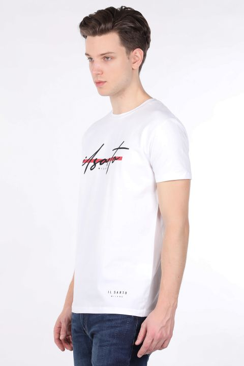 Мужская белая футболка с круглым вырезом и принтом