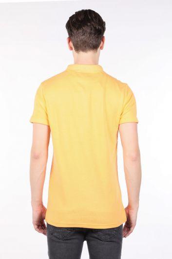 Men's Yellow Polo Neck T-shirt - Thumbnail