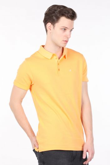 Желтая мужская футболка с воротником-поло - Thumbnail