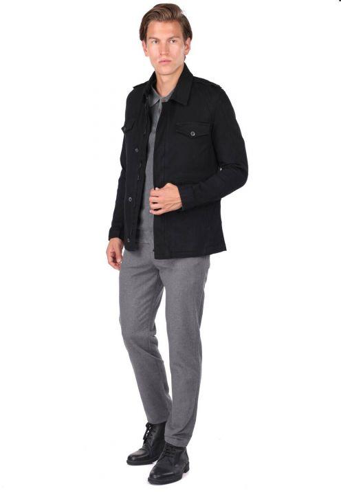 Мужская куртка с воротником на молнии черная