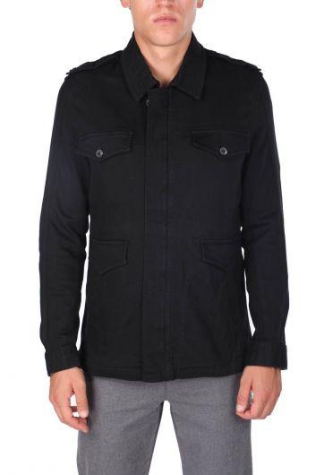 Мужская куртка с воротником на молнии черная - Thumbnail