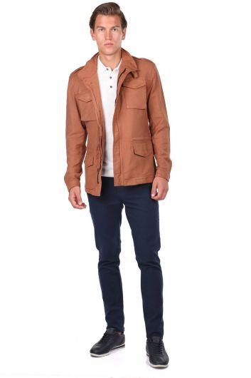 Мужская прямая куртка с карманом на молнии и воротником-стойкой - Thumbnail
