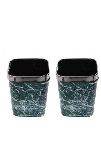 MARKAPIA HOME - Mermer Desenli Metal Başlıklı Plastik Kare Çöp Kovası 2'li Set (1)
