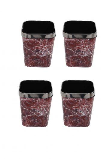 Mermer Desenli Metal Başlıklı Plastik Kare Çöp Kovası 4'lü Set - Thumbnail