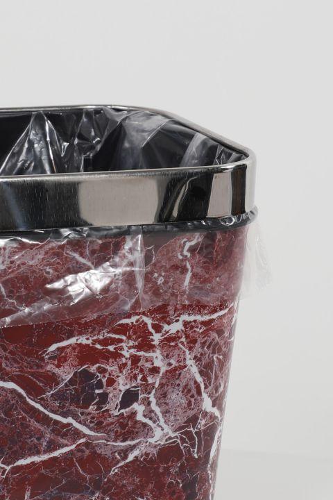 Mermer Desenli Metal Başlıklı Plastik Kare Çöp Kovası 4'lü Set