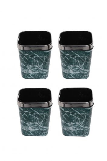 MARKAPIA HOME - Plastic Square Dustbin With Marble Pattern Metal Cap Set Of 4 (1)