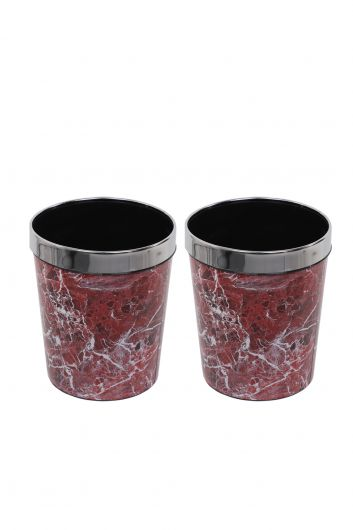 Mermer Desenli Metal Başlıklı Plastik Yuvarlak Çöp Kovası 2'li Set - Thumbnail