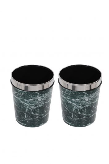 MARKAPIA HOME - Plastic Round Trash Can With Marble Pattern Metal Cap Set Of 2 (1)