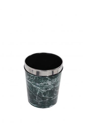 Mermer Desenli Metal Başlıklı Plastik Yuvarlak Çöp Kovası - Thumbnail