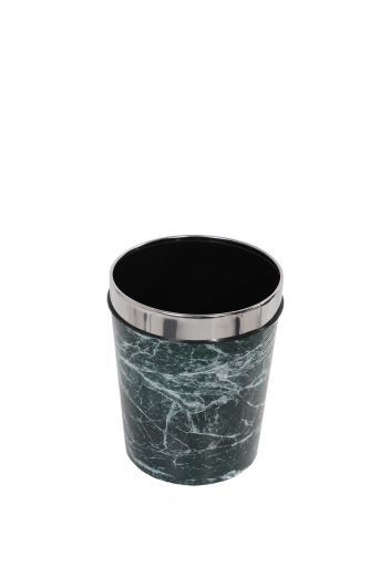 MARKAPIA HOME - Plastic Round Trash Can With Marble Pattern Metal Cap (1)