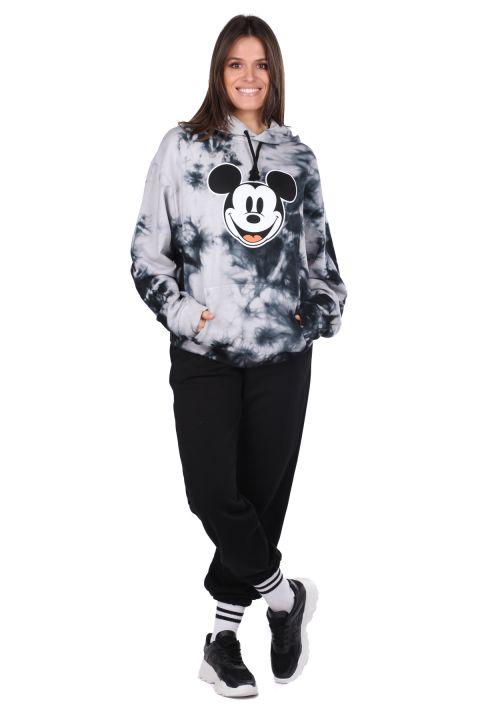 Mickey Mause Baskılı Kapüşonlu Batik Kadın Sweatshirt