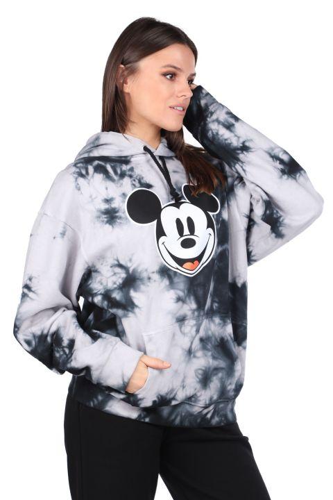 Mickey Mause Printed Hooded Batik Women's Sweatshirt