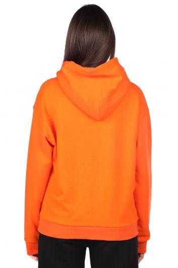 Оранжевый женский свитшот с капюшоном и надписью Mickey Mause - Thumbnail