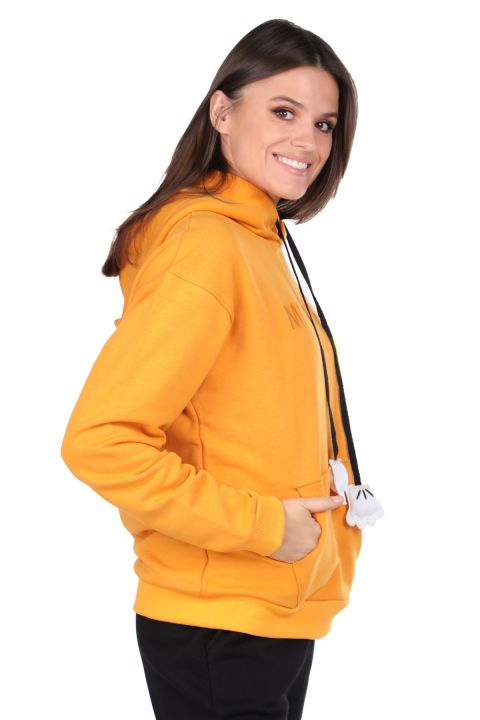 Mickey Mause Lettering Hooded Yellow Women's Sweatshirt