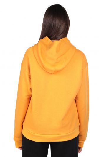 Mickey Mause Lettering Hooded Yellow Women's Sweatshirt - Thumbnail
