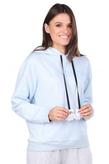 Синий женский свитшот с капюшоном и надписью Mickey Mause - Thumbnail