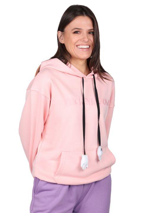 Розовый женский свитшот с капюшоном и надписью Mickey Mause