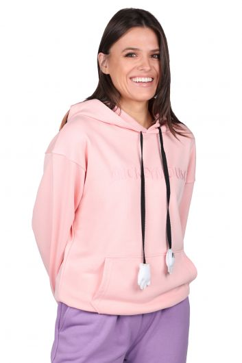 Mickey Mause Lettering Hooded Pink Women's Sweatshirt - Thumbnail