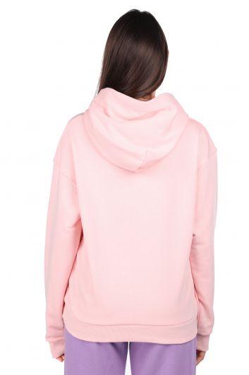 Mickey Mause Lettering Hooded Pink Women's Sweatshirt - Thumbnail