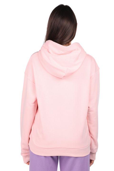 Mickey Mause Lettering Hooded Pink Women's Sweatshirt