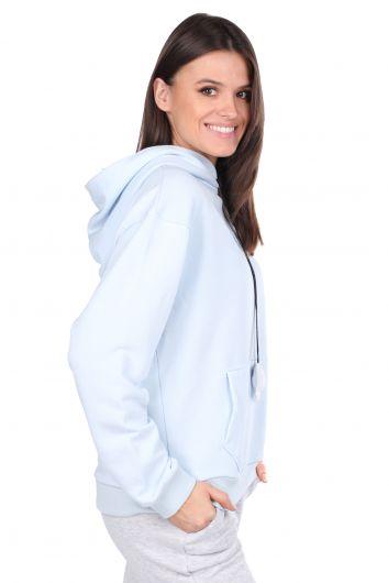 MARKAPIA WOMAN - Mickey Mause Yazılı Kapüşonlu Mavi Kadın Sweatshirt (1)