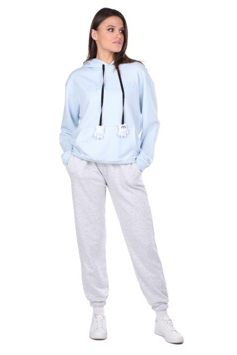 Mickey Mause Yazılı Kapüşonlu Mavi Kadın Sweatshirt