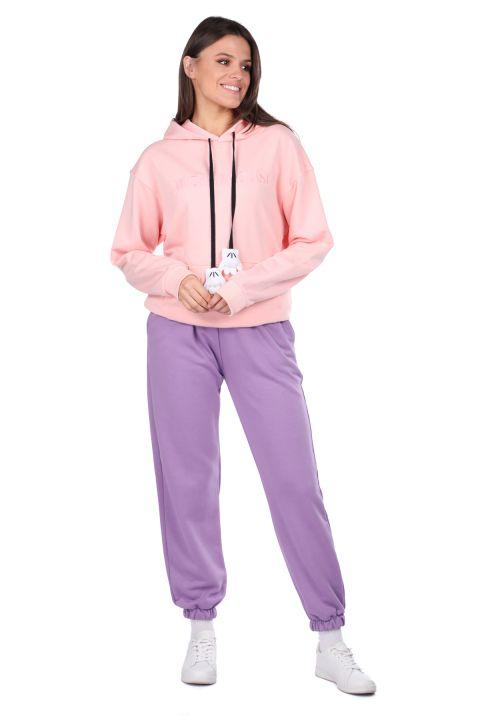 Mickey Mause Yazılı Kapüşonlu Pembe Kadın Sweatshirt