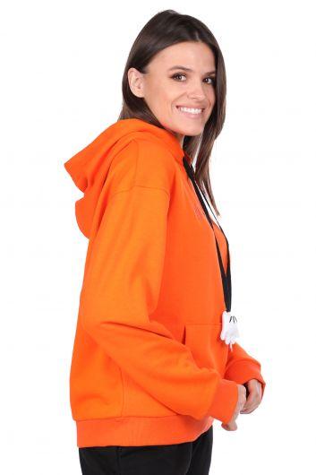 MARKAPIA WOMAN - Mickey Mause Yazılı Kapüşonlu Turuncu Kadın Sweatshirt (1)