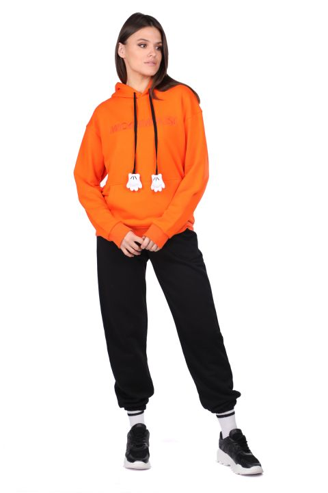 Mickey Mause Yazılı Kapüşonlu Turuncu Kadın Sweatshirt