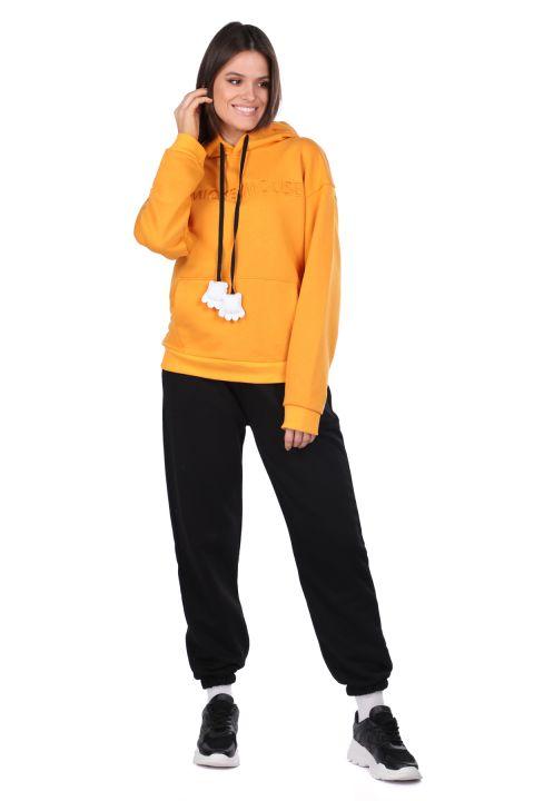 Mickey Mause Yazılı Kapüşonlu Sarı Kadın Sweatshirt