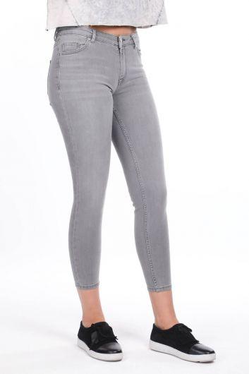بنطلون جينز ضيق متوسط الخصر - Thumbnail