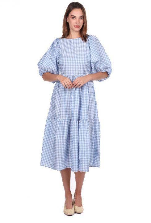 فستان متوسط الطول بنقشة القماش القطني