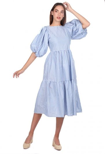 MARKAPIA WOMAN - فستان متوسط الطول بنقشة القماش القطني (1)