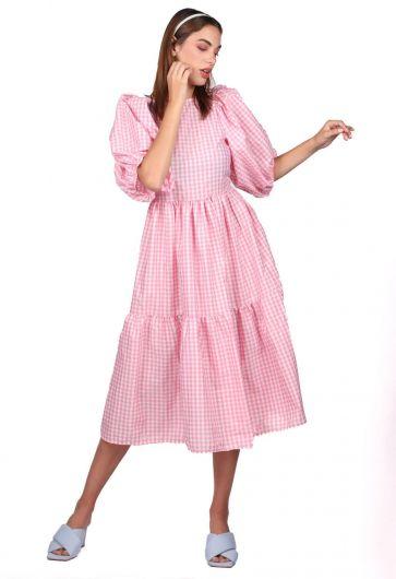 فستان متوسط الطول بنقشة القماش القطني - Thumbnail