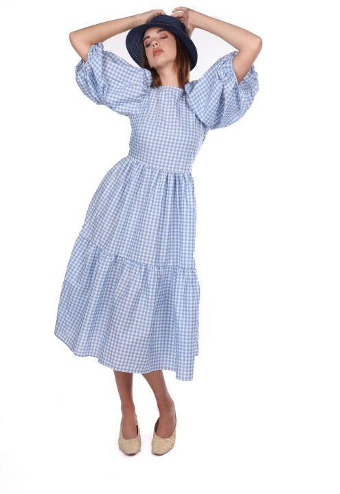 Gingham Patterned Midi Dress