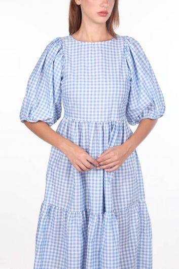 Миди-платье в мелкую клетку с рисунком - Thumbnail