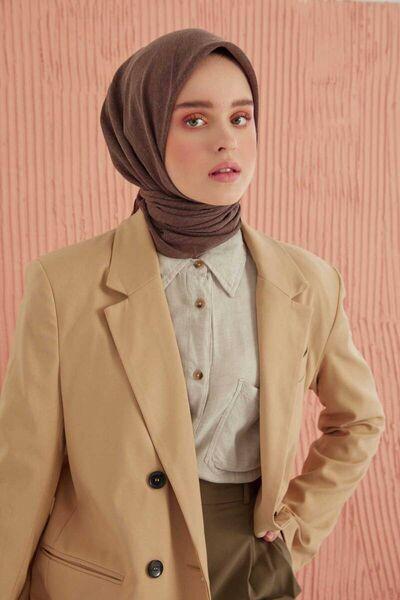 MİRAY - وشاح ميراي من القطن البني المر (1)