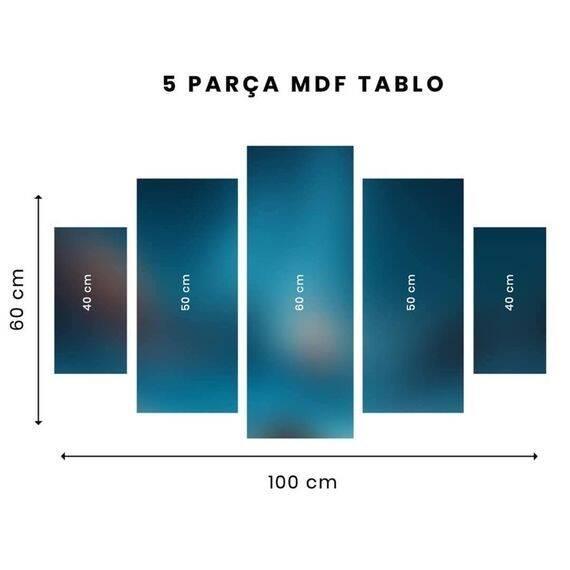 Mor Çiçekli Bank 5 Parçalı Mdf Tablo-3513