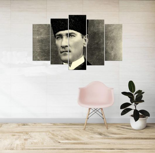 رسم مصطفى كمال أتاتورك بالأبيض والأسود ، 5 قطع - Thumbnail