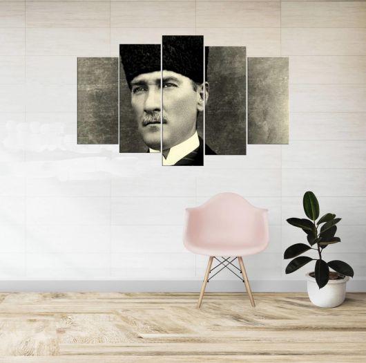Mustafa Kemal Atatürk Black and White 5 Piece Mdf Painting - Thumbnail